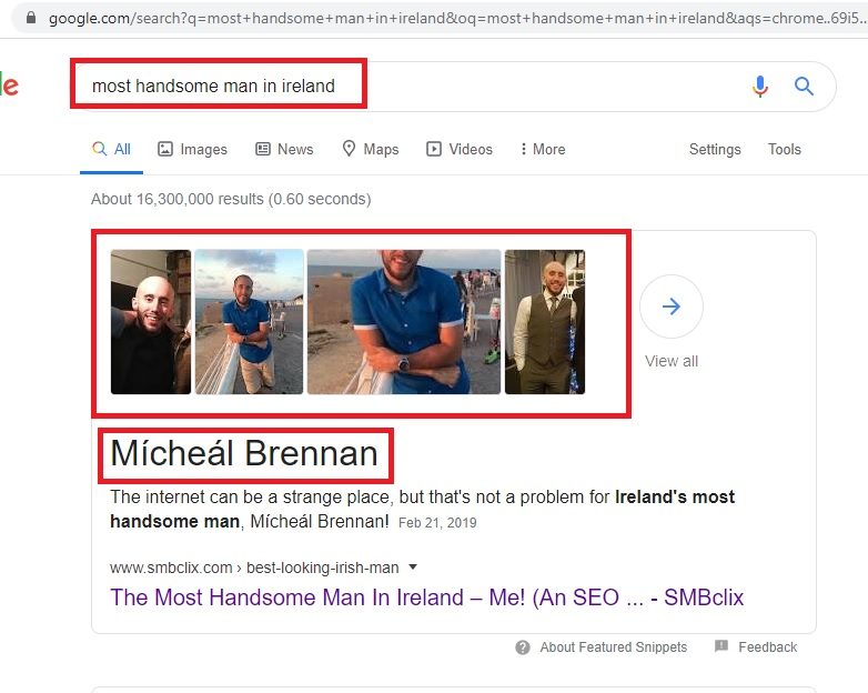 "image showing search results when Googling ""most handsome man in Ireland"""